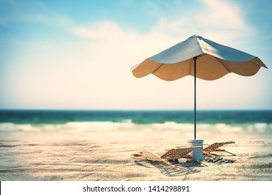 Beautiful beach wallpaper with  sand, chaise longs, umbrella and sunlight. Creativity and nature concept