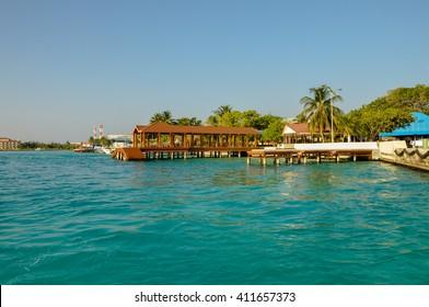 Beautiful beach with water bungalows at Maldives.