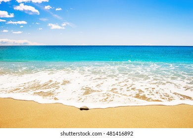 Beautiful beach with white sand and turquoise sea.