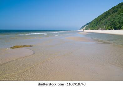 A beautiful beach in the Wolinski National Park. Miedzyzdroje, Poland.