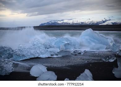 Beautiful beached chunks of ice at the beach at Jokulsarlon, Iceland