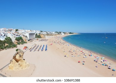 Beautiful beaches of the Algarve in the summer.