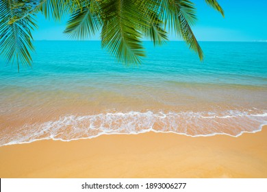 Beautiful beaches and blue sea Surrounded by palm trees
