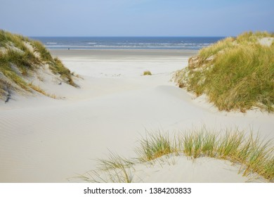 The beautiful beaches of the Frisian island 'Ameland', located between the North Sea and 'Wadden' Sea, the Netherlands
