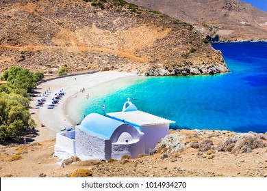 beautiful beaches of Greece - Astypalaia island , and little church agios Konstantinos