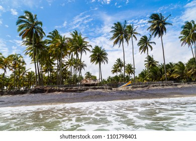 Beautiful beaches with palm trees and dark sand on the Ecuadorian coast, Cojimies Ecuador