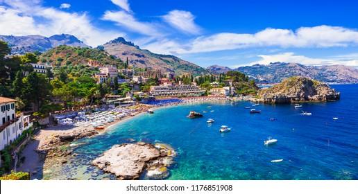Beautiful beaches of Sicily island, Taormina town. Italy