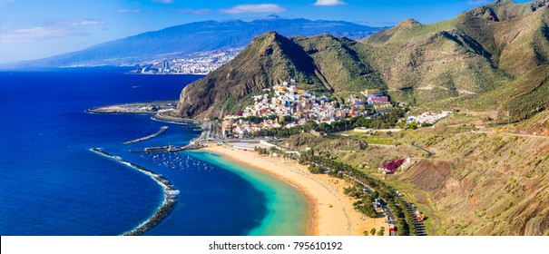 Beautiful beaches of Tenerife island- Las Teresitas with scenic San Andres village.