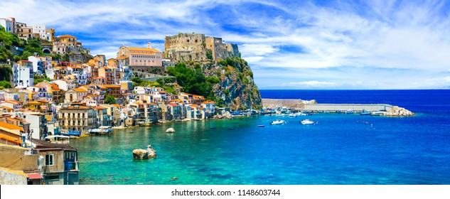 beautiful beaches and towns of Calabria - Scilla. Italian summm