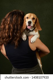 Beautiful Beagle dog portrait on dark background with copy space, close-up. The beagle is a breed of small hound dog. Pet training. World Animal Day