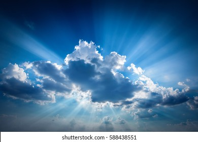 Beautiful beam of light and the clouds. The divine sky