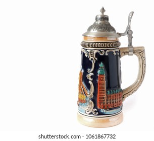 A beautiful beer mug made of ceramic with a lid