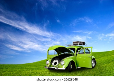 beautiful beetle car with door's open on a green meadow