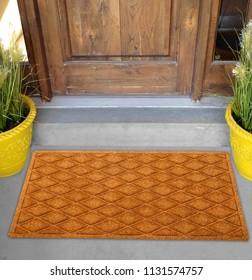 Beautiful Beige color zig-zag patterned Welcome zute doormat with border