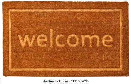 Beautiful beige Welcome zute doormat with Border