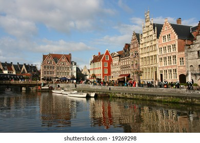 Beautiful Belgian town of Ghent and its reflection in river Leie water