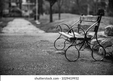 Beautiful Bench in the Park, Black and White classic style photograph, Nostalgia for Old Photography