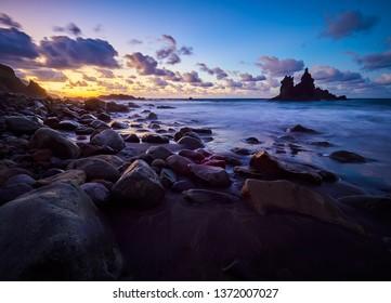 Beautiful Benijo beach, Anaga, Tenerife, Canary Islands at sunset