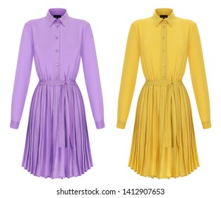 Beautiful best summer set, lilac and bright yellow  silk dresses, ghost mannequin, clipping, isolated on white
