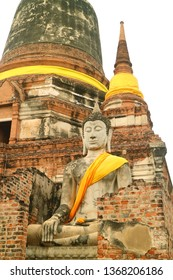 Beautiful Bhudda Image in front of the Main Stupa (Chedi) of Wat Yai Chai Mongkhon Temple, Ayutthaya Archaeological site, Thailand