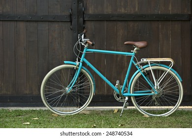beautiful bicycle on brown background
