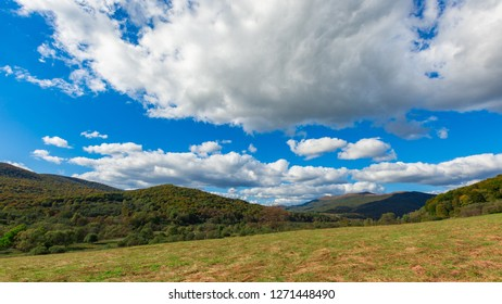 Beautiful Bieszczady mountains and meadow near Tarnica mountain. Autumnal Bieszczady mountains landscape.