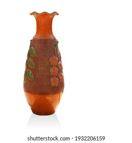 beautiful big brown pottery vase on white background, object, vintage, retro, copy space