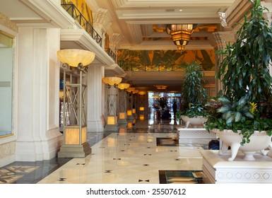 Beautiful big foyer in the luxury expensive hotel. Las-Vegas, Nevada
