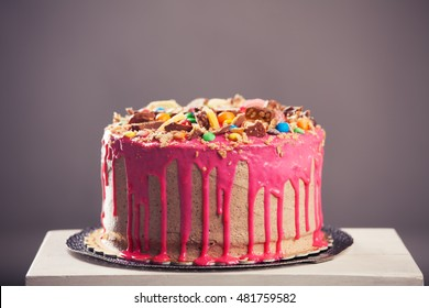Beautiful Big Pink Cake Birthday