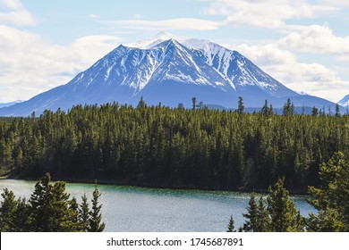 Beautiful big rocky mountain with its summit still covered in snow with the boreal forest and a lake in the foreground. Shot near Snafu Lake, Yukon, Canada.