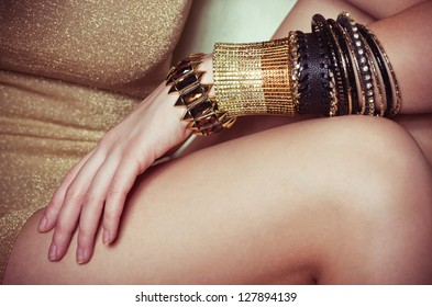 Beautiful bijouterie bangles on hand. Fashion photo
