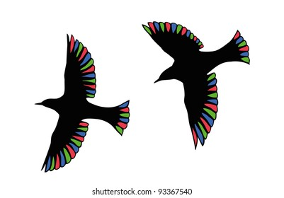 Beautiful birds with transparent wings in the RGB-colors.
