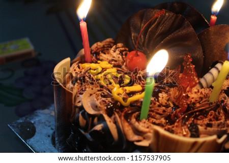Beautiful Birthday Cake Lighting Candles Stock Photo Edit Now