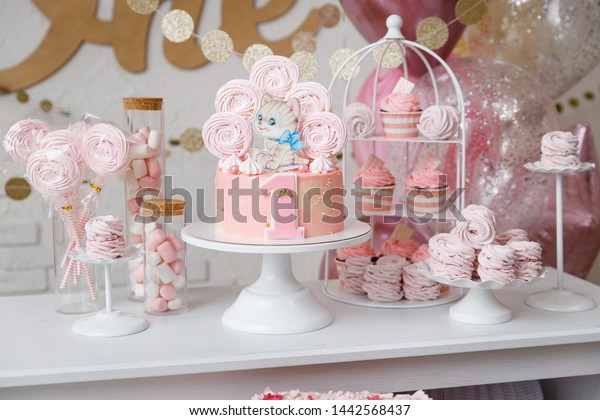 Peachy Beautiful Birthday Cake Pink Decor Birthday Stock Photo Edit Now Funny Birthday Cards Online Overcheapnameinfo