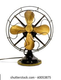 Beautiful black antique brass fan on a white background
