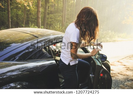 Beautiful Black Car Autumn Forest Audi Stock Photo Edit Now