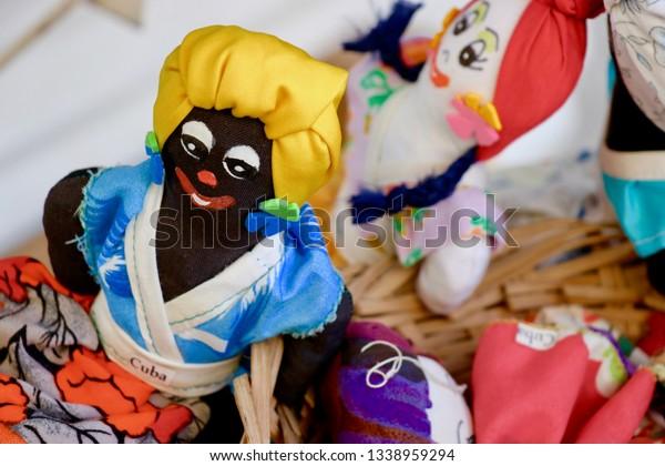 Beautiful Black Dolls Representing Santeria Ritual Stock