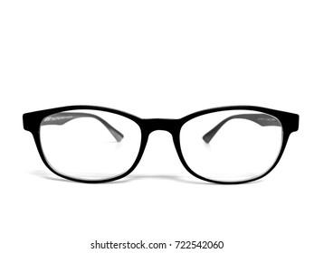 Beautiful black eyes Glasses on white background