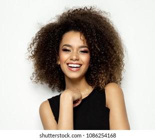 Beautiful black female model smiling