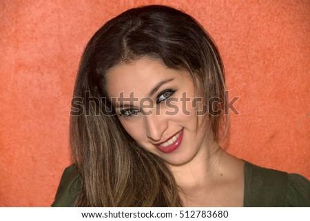 Beautiful Black Hair Green Eyes Latina Stock Photo Edit Now