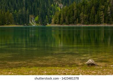 the beautiful  Black Lake in Zabljak of Montenegro.