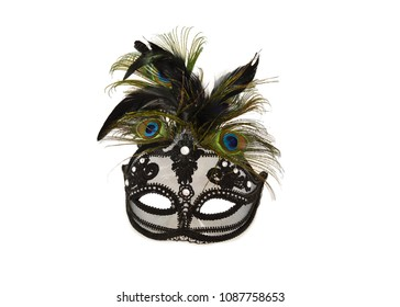 Beautiful black mask with feathers on white background with space for text.