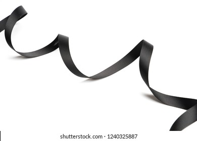beautiful black ribbon twist spiral isolated on white background