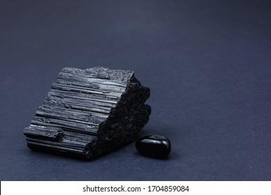 beautiful black tourmaline on a black background
