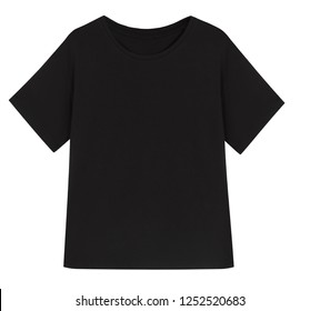 Beautiful black t-shirt isolated on white background, blank, mock-up