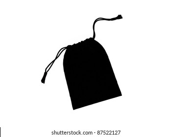 Beautiful Black Velvet Pouch to hold Jewelry and Delicate items isolated on White Background
