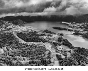 Beautiful Black and White aerial view of Sete Cidades with Lagoa Verde and Azul in Sao Miguel, Azores.