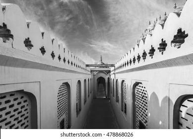 Beautiful Black and White Corridors of Hawa Mahal Palace (Palace of Winds) in Jaipur, Rajasthan