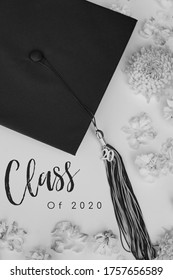 Beautiful Black and White Graduation Cap and Tassel for Class of 2020