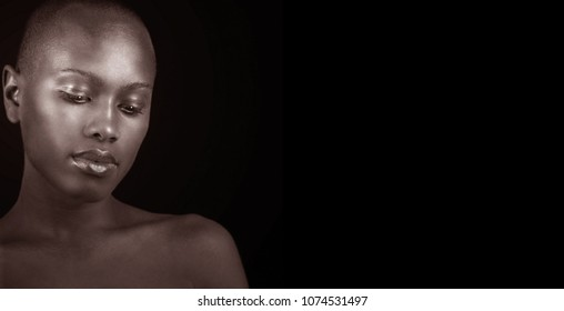 Beautiful Black and white Image of a afro american woman with lots of copyspace for your product